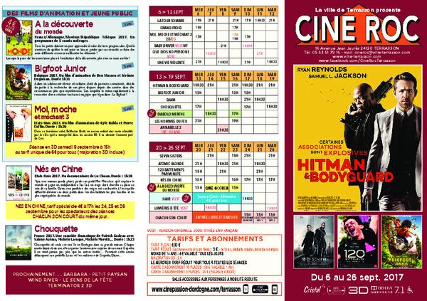 Programme du CinéRoc de Terrasson du 9 au 29 septembre